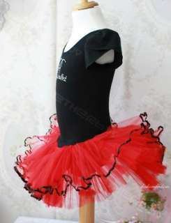 Girls Xmas Red black Ballet Dance Leotard Party Tutu Dress(exactly as