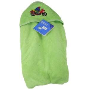 Soft Baby Hooded Bath Towel, Color Green, Features Motorcycling