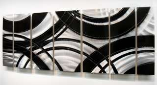 Large Modern Abstract Silver/Black Metal Wall Art Decor Sculpture