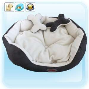 Grey Luxury Warm Unique Soft Pet Dog Cat Puppy Bed, M size
