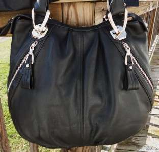 MAKOWSKY KAMPALA BLACK SOFT LEATHER ZIPPERS SATCHEL HANDBAG TOTE