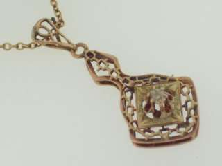 ANTIQUE VICTORIAN 10K GOLD DIAMOND LAVALIER PENDANT NECKLACE