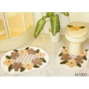 3 PC SETS3D CARPET FLORAL WHITE M1003 Bathroom Mat Rug
