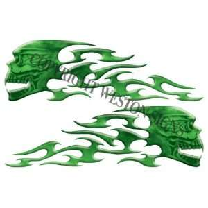 Green Motorcycle Gas Tank Tribal Skull Flames   5.5 h x
