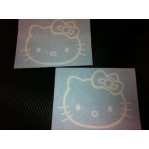 2 X Hello Kitty Racing Car Decal Sticker (New) White