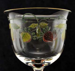 Set of 6 Gilt Art Nouveau Etched Painted Wine Glasses