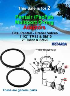 Pentair / PacFab / Praher Side Mount Multiport Valve Adapter O rings 2