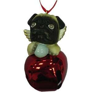 Cute Christmas Holiday Pug Dog Red Ornament Bell Figurine
