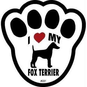 I Love My Fox Terrier Dog Pawprint Window Decal Kitchen