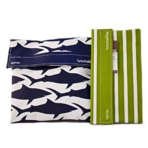 Lunchskins Sandwich Bag (in Navy Blue Shark ) and Snack Bag (in Green