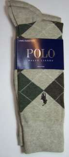 POLO RALPH LAUREN Mens 2 Socks 10 13 Taupe Argyle NEW