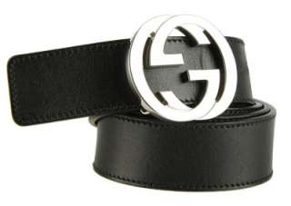 GUCCI MENS BLACK LEATHER SILVER TONE GG BUCKLE BELT 110/44