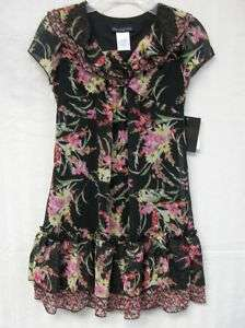 18D NEW Girl DISORDERLY KIDS Black Floral Dress 7 12 16