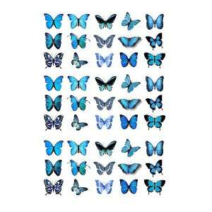45x Blue Butterflies Edible Cake Toppers (Birthday Cupcake