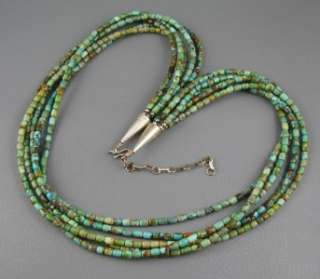 Navajo 5 Strand Green Hand Cut Turquoise Bead Sterling Necklace 86