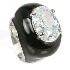 Black Enamel CZ Ring Jewelry