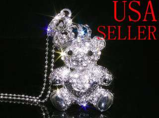 Crystal Crown cute Bear Pendant Memory Stick USB flash drive Necklace