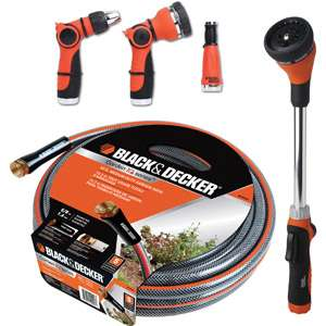 Black & Decker 5/8 Medium Duty Garden Hose with Wand, 50