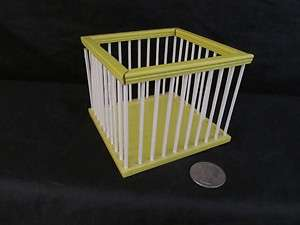 Doll House Furniture Wood Yellow White Baby Playpen Nursery Miniature