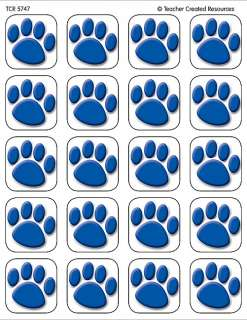 120 BLUE PAW PRINTS STICKERS Cats Dogs Paws NEW 088231957478