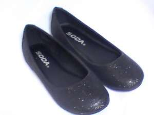 Girls Black Glitter Flats SD (SCOUT2) Girl Sz 12