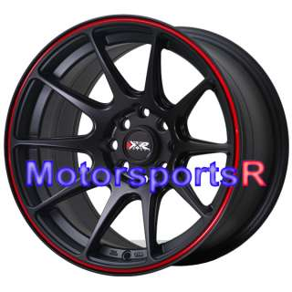 Black Red Stripe Concave Rims Wheels 4x100 90 00 05 Mazda Miata