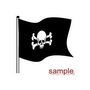 EVIL AND SKULLS PIRATE FLAG 10 WHITE VINYL DECAL STICKER