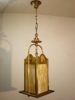 1920 30 Art & Crafts slag glass and brass hall light fixture.