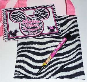 Disney Pink Zebra MICKEY & MINNIE Mouse Autograph Book/Bag/Pen NEW