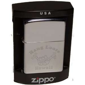 ZIPPO LIGHTER WITH HAWAII HANG LOOSE HIGH POLISH CHROME