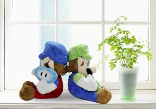 Super Mario Bros Plush Doll Toy Set #blue+green