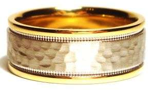 MENS WEDDING BAND MEN RINGS 14k TWO TONE GOLD HAMMERED