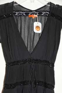 MICHELLE JONAS BLACK SILK CHIFFON CAP SLEEVE DRESS ORG $265 SIZE M
