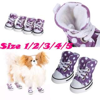 Dots Canvas Robber Shoes Sports Boots Pet Dog Puppy Sneaker