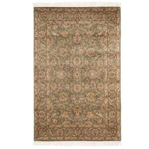 Hand Knotted Olive Wool Area Rug, 5 Feet by 7 Feet