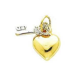 14K Two Tone Gold Heart & Key Charm Jewelry