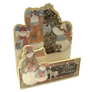 Club Pack of 72 Wooden Happy Holidays Snowman Christmas Card Holders 7