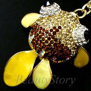 SHIPPING Rhinestone Crystal GOLDFISH Key Chain Handbag Decorate