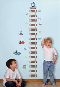TRAIN Growth Chart Wall Stickers KIDS Room Decor Vinyl Decals TRACKS