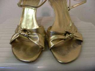 KATE SPADE Gold Leather Strappy Sandals Heels 8.5B