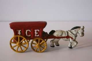 Antique Cast Iron Ice Truck Horse Drawn Wagon Red White