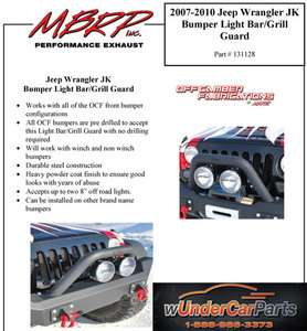 MBRP 131128 07 10 Jeep Wrangler JK Bumper Light Bar/Grill Guard