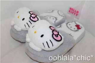 HELLO KITTY Sanrio Plush Slippers Pink or Gray/Grey NEW