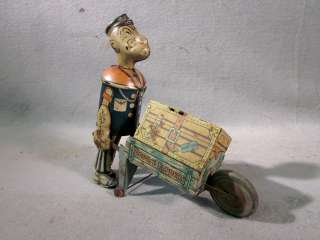 Vintage 1930s MARX Popeye Express Tin Litho KEY Wind Up TOY WORKS