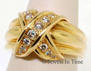 Tiffany X 18k Yellow Gold and Diamond Ring 4.75