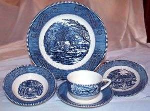 Royal China Blue Currier and Ives 5 Piece Place Setting