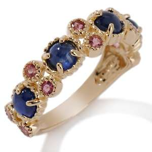 50ct Sapphire Cabochon and Pink Tourmaline 10K Ring