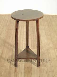 Antique English Solid Oak Arts & Crafts End Side Table w/ Shelf c1910