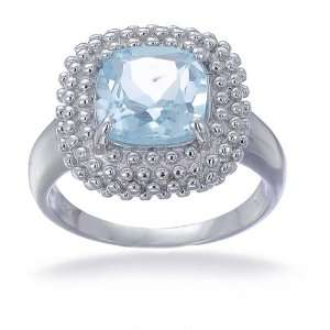 8MM Cushion Cut Blue Topaz Ring In Sterling Silver 2CT In