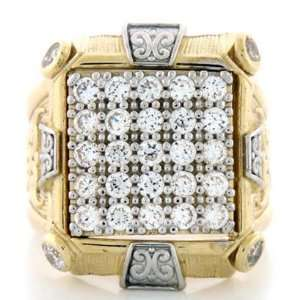 10K Solid Two Tone Gold CZ Stone Mens Cluster Ring Jewelry